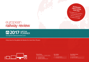 2017 media planner cover page for advertising in the European Railway review publication