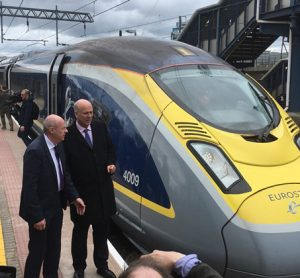 Ashford International welcomes the first modern high-speed train en-route to Paris