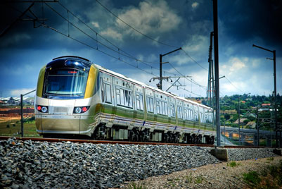 The Gautrain railway in Johannesburg, South Africa, also operates BOMBARDIER ELECTROSTAR trains