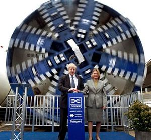 Major Boris Johnson and Justine Greening with the Crossrail boring machines