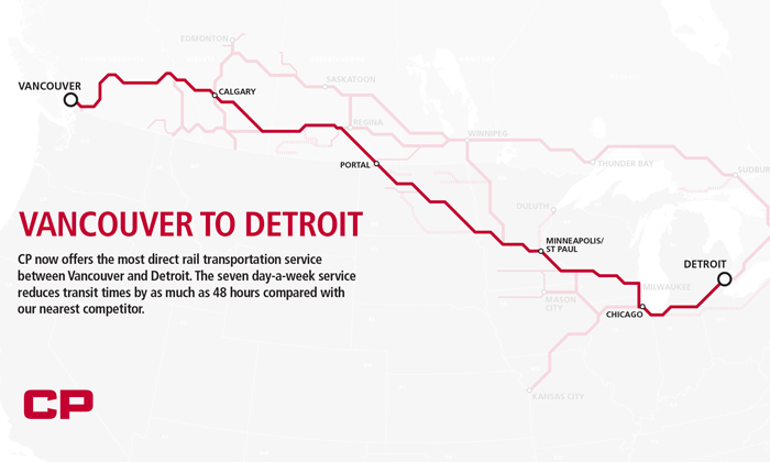 Direct rail service from Vancouver to Detroit launched