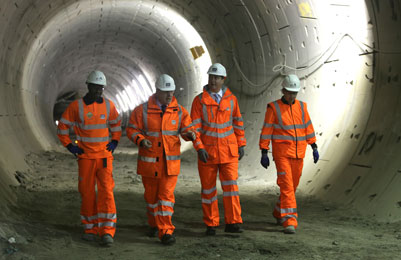 Prime Minister David Cameron, Mayor of London Boris Johnson and Crossrail Minister Stephen Hammond visiting Crossrail's Tottenham Court Road site