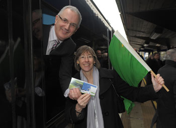 Minister for Regional Development Danny Kennedy MLA and Translink Group Chief Executive Catherine Mason officially re-open the railway line between Derry~Londonderry and Coleraine.