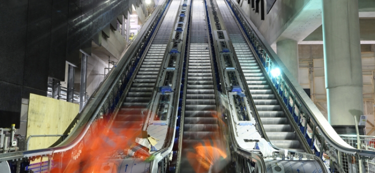 Over 1.5 kilometres of escalators now installed at Elizabeth line stations