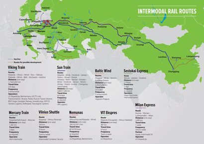 Map of intermodal rail routes