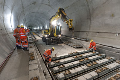 Last sleeper laid in the Gotthard Base Tunnel