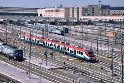 The eight new Coradia Meridian trains of the Jazz type, originally ordered by Trenitalia in November 2012, have been individually adapted for journeys to and from Rome Termini railway station and Rome Fiumicino Airport. Each vehicle has been painted in red-white-green livery, referring to the Italian flag and provides wider space in each carriage for luggage. Eight new Coradia Meridian EMUs individually adapted for journeys to and from Rome Termini railway station and Fiumicino Airport The Alstom built, Italian made Coradia Meridian is an Electric Multiple Unit (EMU) able to run at a maximum speed of 160 km/h. Its concentrated traction system, with two motor bogies, optimises the electrical braking capability of the train reducing energy consumption and brake wear. In addition, the train is 95 percent recyclable and is designed to be eco-friendly.