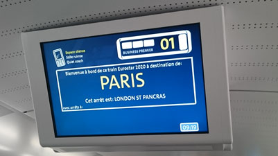 On-board passenger information screens on the new Eurostar e320