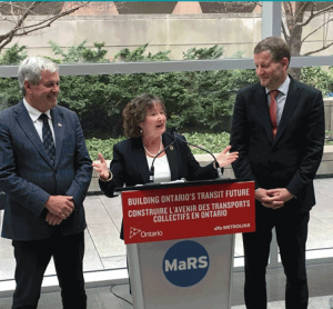 MPP Arthur Potts, Transportation Minister Kathryn McGarry, and Metrolinx CEO Phil Verster (from left to right)