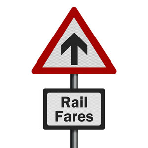 Rail fares rising sign