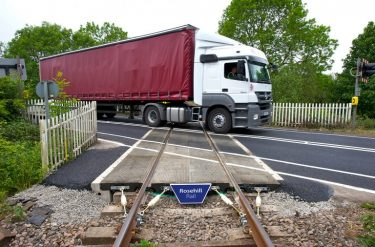 Lorry on a Rosehill Rail crossing