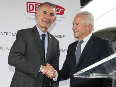 SNCF President Guillaume Pepy and Rüdiger Grube,