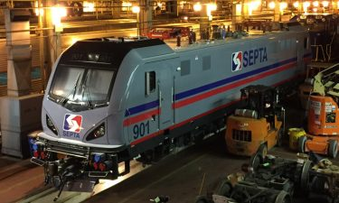 In Pennsylvania, the first of 15 ACS-64 electric locomotives for SEPTA was delivered