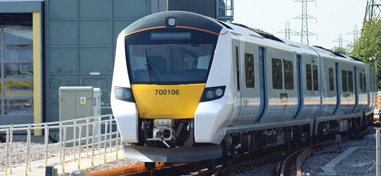 The Siemens-built Class 700 Desiro City in sidings at Three-Bridges depot, UK