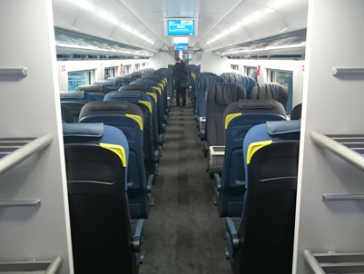 Standard class seating on the new Eurostar e320