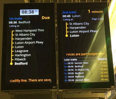 Thameslink information screens