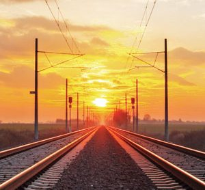 Train tracks in sunset