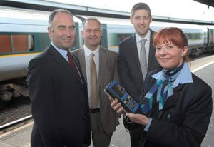 Translink's Mal McGreevy, William McGookin, and Nicola Hall with Ian Pickering, Parkeon's UK Service Manager