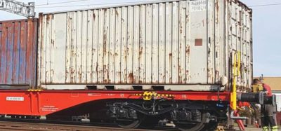 United Wagon Company flat cars for European track gauge pass testing