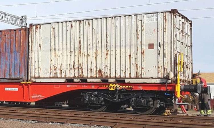 United Wagon Company flat cars for European track gauge pass testing