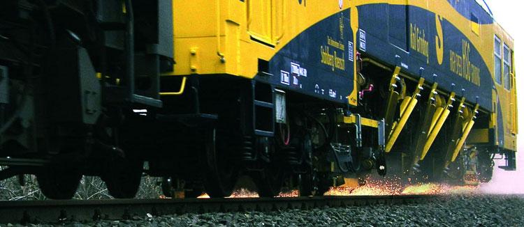 Rail grinding train on track