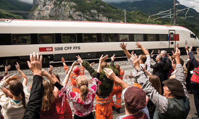 SBB train opening Gotthard Base Tunnel Switzerland